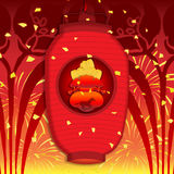 Chinese New Year 2014. A Lantern amidst fireworks in celebration of the New Chinese Horse Year Royalty Free Stock Photos