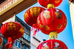 Chinese New year lantern hanging in chinese temple. Thailand Bangkok - January 29 2018 : Chinese New year lantern hanging in chinese temple,traditional chinese Royalty Free Stock Photos