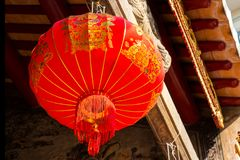 Chinese New year lantern hanging in chinese temple. Thailand Bangkok - January 29 2018 : Chinese New year lantern hanging in chinese temple,traditional chinese Royalty Free Stock Images