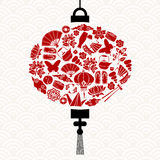 Chinese New Year lantern with red asian icons Royalty Free Stock Images