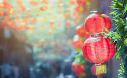 Chinese new year lanterns in chinatown Stock Images