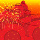 Chinese New Year 2014. Lanterns dancing amidst fireworks in celebration of the New Chinese Horse Year Stock Photo