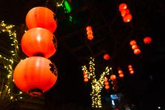 Chinese new year lanterns with `fortune` character stock photo