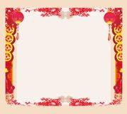 Chinese New Year with lanterns - frame. Vector Illustration royalty free illustration