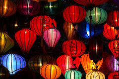Chinese new year lanterns illuminated at the marke Royalty Free Stock Image