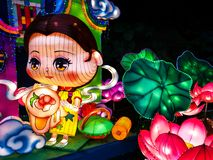 Chinese New year lanterns, illuminated night China Asia guangzhou public stock photography