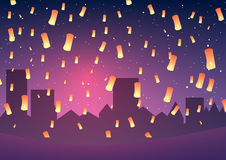 Chinese New Year. Lanterns on a night city. Vector illustration. Chinese New Year. Lanterns on a night city Royalty Free Stock Image