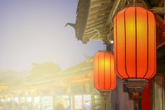 Chinese new year lanterns in old town stock photos