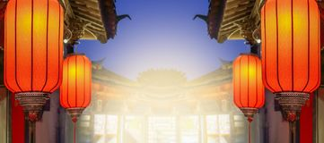 Chinese new year lanterns in old town area , China royalty free stock photography