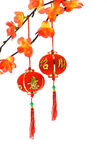 Chinese new year lanterns and plum blossoms stock photo
