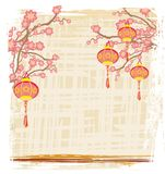 Chinese New Year with lanterns - card. Chinese New Year with lanterns , Vector Illustration stock illustration