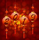 Chinese New Year lanterns 2019. Vector illustration red holidays background royalty free illustration