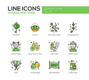 Chinese New Year - line design icons set. Chinese New Year - set of modern vector line design icons and pictograms. Lantern, lotus, fire crackers, chinese knot Royalty Free Stock Images