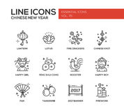 Chinese New Year - line design icons set. Chinese New Year - set of modern vector line design icons and pictograms. Lantern, lotus, fire crackers, chinese knot Royalty Free Stock Image