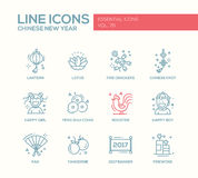Chinese New Year - line design icons set. Chinese New Year - set of modern vector line design icons and pictograms. Lantern, lotus, fire crackers, chinese knot Stock Image