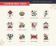 Chinese New Year - line design icons set. Chinese New Year - set of modern vector line design icons and pictograms. Lantern, lotus, fire crackers, chinese knot Stock Photos