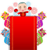 Chinese New Year lion dance and man with smile mask Stock Images