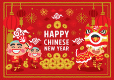 Chinese New Year Lion Dancing vector concept Stock Image