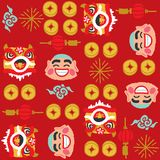 Chinese New Year Lion Dancing vector pattern. Freehand drawing vector Illustration stock illustration