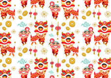 Chinese New Year Lion Dancing vector pattern. Freehand drawing vector Illustration royalty free illustration