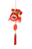 Chinese new year lion head ornament. Hanging Chinese new year lion head ornament on white background