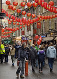 Chinese New Year, London. A street scene during the Chinese New Year festivities in London's China town