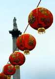 Chinese New Year in London. Chinese lanterns strung in Trafalgar Square, London Royalty Free Stock Images