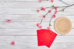 "Lucky Chinese New Year 2019. 2019 Chinese new year or lunar new year decoration on white wooden background. Text space images. with character ""FU &#x22 royalty free stock photography"