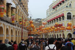 Chinese New Year in Macau. Chinese New Year in Avenida de Almeida Ribeiro, Macau Royalty Free Stock Photo