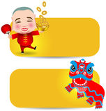 Chinese New Year man with smile mask and lion dance Stock Image