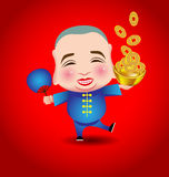 Chinese New Year  man with smile mask on red background Royalty Free Stock Image