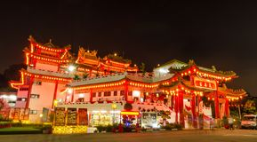 During Chinese New Year,many people come to Thean Hou Temple to pray for a better year head. stock photo