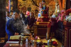 CANTON, CHINA – CIRCA FEBRUARY 2019: The taoist priests hold a requiem for the dead. Chinese New Year memorial service hold in the taoist temple in stock photos