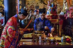 CANTON, CHINA – CIRCA FEBRUARY 2019: The taoist priests hold a requiem for the dead. royalty free stock photography