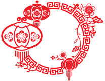 Chinese New Year and Mid Autumn Festival design. In red Stock Image