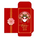 Chinese new year 2019 money red envelopes packet  9 x 17 Cm. Zodiac sign with gold paper cut art and craft style on color Background.Chinese Translation : Year vector illustration