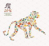 2016 chinese new year monkey china icon ape. 2016 Happy Chinese New Year of the Monkey asian inspired culture icons forming ape silhouette Stock Illustration
