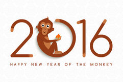 Chinese new year monkey 2016 cute card. Happy Chinese New Year of the Monkey. Greeting card design, ape holding peach making 2016 shape in cute cartoon style Stock Illustration