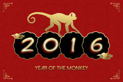 Chinese New Year 2016 monkey gold red card. 2016 Happy Chinese New Year of the Monkey. Ape silhouette and text in gold colors over red texture background. EPS10 Vector Illustration