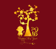 Chinese New Year 2016, monkey with golden geometrical Stock Photos