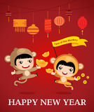 Chinese new year of the monkey. Happy new year of the monkey, character design, cartoon boy girl, Happy chinese new year stock illustration