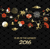 Chinese new year 2016 monkey icon decoration gold Royalty Free Stock Image