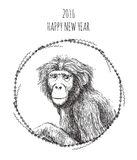 Chinese New Year of the Monkey 2016. Sketch vector illustration cards for your design Stock Photo