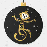 Chinese New Year monkey vector decoration ball. Icon. 2016 new year monkey chinese style. Happy monkey vector New Year China monkey ball. Chinese Monkey vector Royalty Free Stock Images