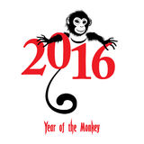 Chinese new year 2016 (Monkey year). The year of monkey Chinese symbol calendar in red on figures vector illustration. Chinese new year 2016 (Monkey year Stock Illustration