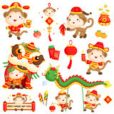 Chinese New Year Monkey Year Vector Set. A vector set of chinese new year monkey year Stock Photos