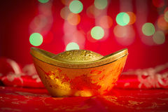 Chinese New Year object gold ingot Royalty Free Stock Photos
