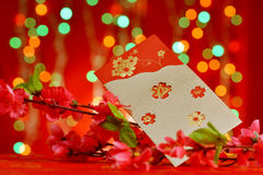 Chinese new year objects red packet and plum flower. Chinese new year decorations, red packet and plum flower on red glitter background royalty free stock photo
