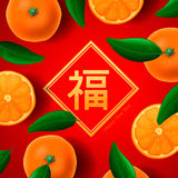 Chinese new year, with orange mandarines fruit on Royalty Free Stock Image