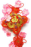 Chinese new year ornament and cherry blossom. On white background